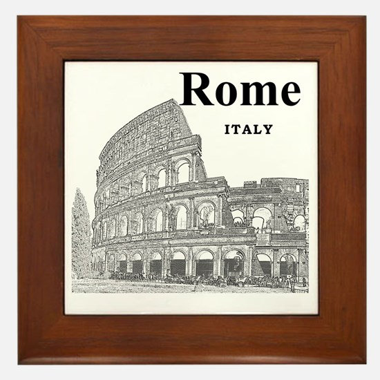 Rome_12X12_v2_Black_Colosseum Framed Tile
