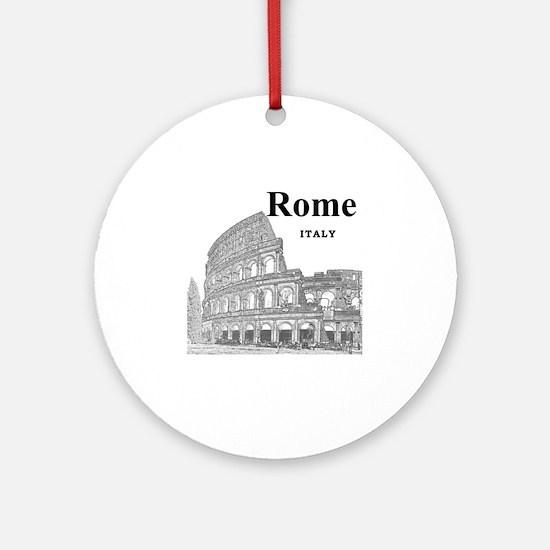 Rome_12X12_v2_Black_Colosseum Round Ornament