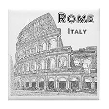 Rome_10x10_v1_Black_Colosseum Tile Coaster