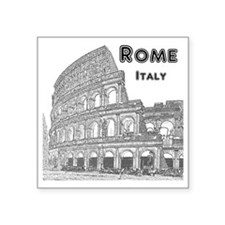 "Rome_10x10_v1_Black_Colosse Square Sticker 3"" x 3"""