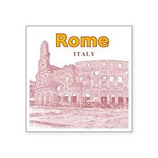 """Rome_10x10_v2_Colosseum_Red Square Sticker 3"""" x 3"""""""