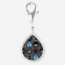 Flight Instruments Silver Teardrop Charm