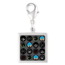 Flight Instruments Silver Square Charm