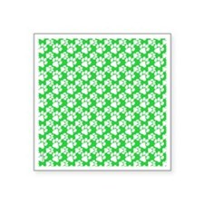 "Dog Paws Green-Small Square Sticker 3"" x 3"""