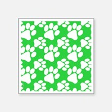 "Dog Paws Green Square Sticker 3"" x 3"""