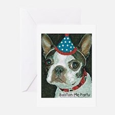 Boston Terrier Me Party Greeting Cards (Package of