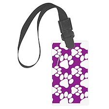Dog Paws Purple Luggage Tag