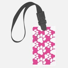 Dog Paws Bright Pink Luggage Tag