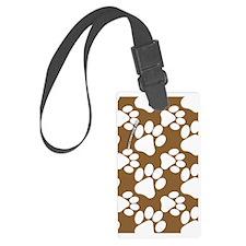 Dog Paws Brown Luggage Tag