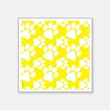 "Dog Paws Yellow Square Sticker 3"" x 3"""