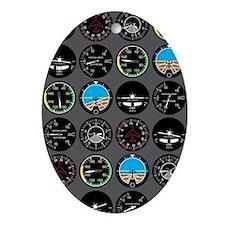 Flight Instruments Oval Ornament