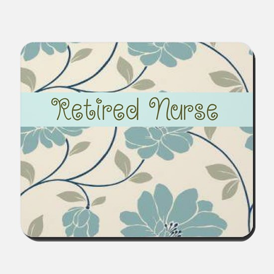 retired nurse blue flower pillow Mousepad