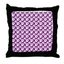 Dog Paws Purple-Small Throw Pillow