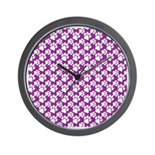 Dog Paws Purple-Small Wall Clock