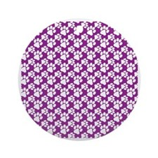 Dog Paws Purple-Small Round Ornament