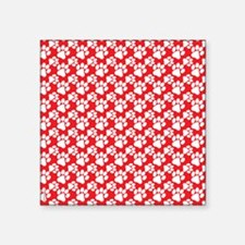 "Dog Paws Red-Small Square Sticker 3"" x 3"""