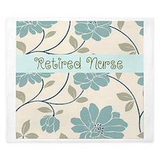 retired nurse blue flower pillow King Duvet
