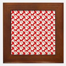 Dog Paws Red-Small Framed Tile