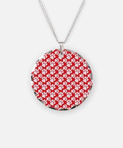 Dog Paws Red-Small Necklace