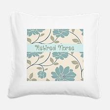 retired nurse blue flower pil Square Canvas Pillow