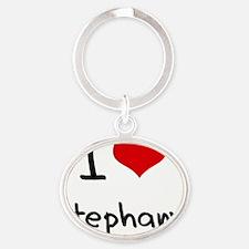 I Love Stephany Oval Keychain