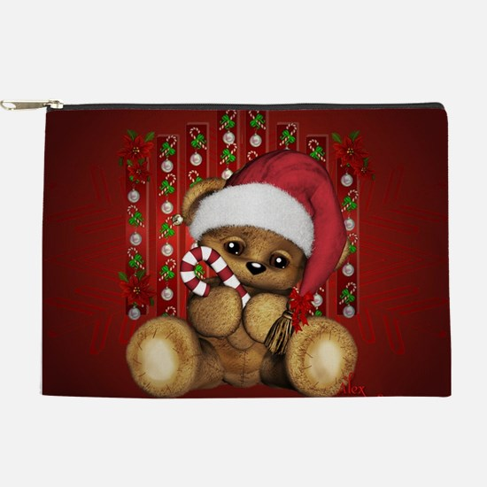 Santa Teddy Bear With Candy Cane Makeup Pouch