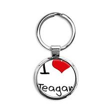 I Love Teagan Round Keychain