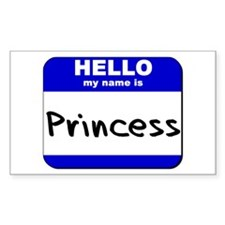 hello my name is princess Rectangle Decal