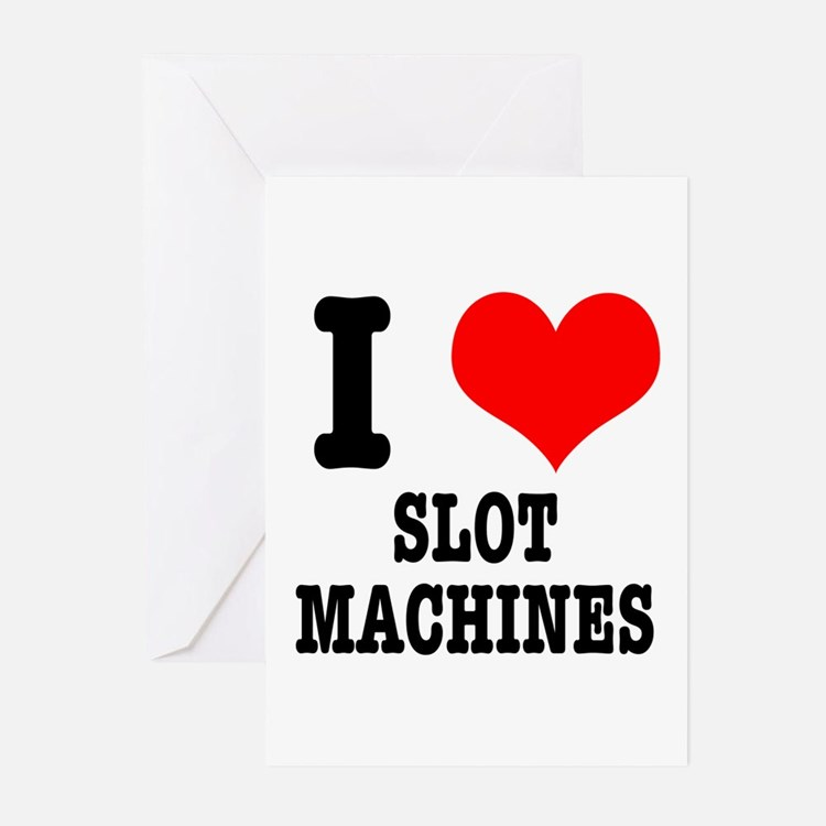 I Heart (Love) Slot Machines Greeting Cards (Packa