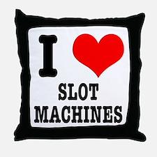 I Heart (Love) Slot Machines Throw Pillow