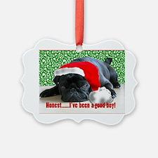 pug in santa Hat Ornament