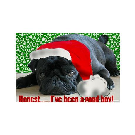 pug in santa Hat Rectangle Magnet