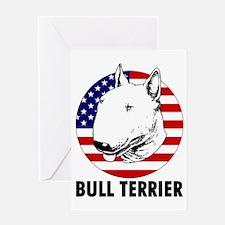 Bull Terrier USA flag Greeting Card