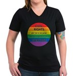 CIVIL RIGHTS EVERYONE Women's V-Neck Dark T-Shirt