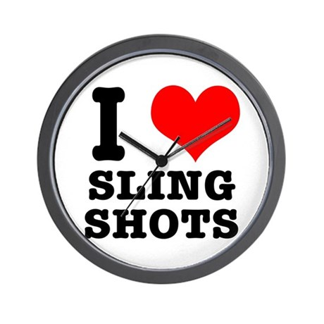 I Heart (Love) Sling Shots Wall Clock