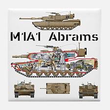 M1A1 Abrams MBT Cutaway Tile Coaster
