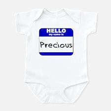 hello my name is precious  Infant Bodysuit