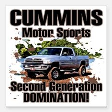 "Cummins Motor Sports Square Car Magnet 3"" x 3"""