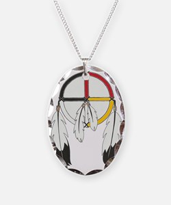 Feathered Medicine Wheel Necklace Oval Charm