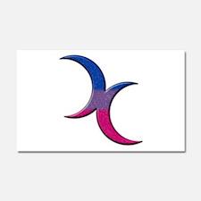 Crescent Moons Symbol - Bisexual Pride Flag Car Ma