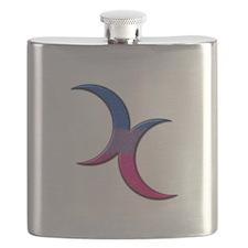 Crescent Moons Symbol - Bisexual Pride Flag Flask