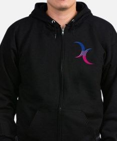 Crescent Moons Symbol - Bisexual Pride Flag Zip Hoodie