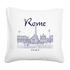 Rome_10x10_v1_Blue_Piazza del Square Canvas Pillow