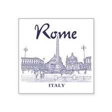 "Rome_10x10_v1_Blue_Piazza d Square Sticker 3"" x 3"""