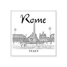 "Rome_10x10_v1_Black_Piazza  Square Sticker 3"" x 3"""