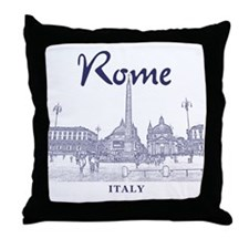 Rome_10x10_v1_Blue_Piazza del Popolo Throw Pillow