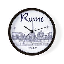 Rome_10x10_v1_Blue_Piazza del Popolo Wall Clock