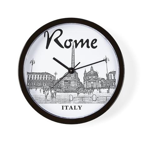 Rome_10x10_v1_Black_Piazza del Popolo Wall Clock