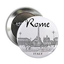 """Rome_10x10_v1_Black_Piazza del Popolo 2.25"""" Button"""