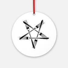 Fork Pentagram Round Ornament